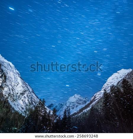 Amazing Night Sky in Mountains - stock photo