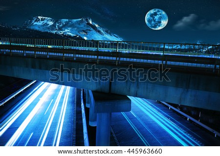 Amazing night view of an empty highway at twilight with long exposure - stock photo