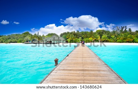 Amazing ocean view on tropical island - stock photo