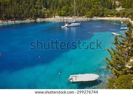 amazing panorama of Foki Fiskardo Beach, Kefalonia, Ionian islands, Greece - stock photo