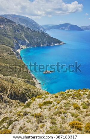Amazing panorama of mountains and coastline of Kefalonia, Ionian islands, Greece