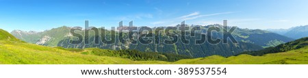 Amazing panoramic landscape at Italian South Tyrol. - stock photo