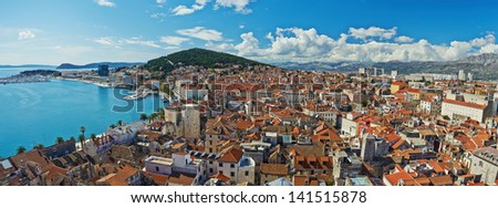 Amazing panoramic top view of the historic city of white stone Split in Croatia - stock photo