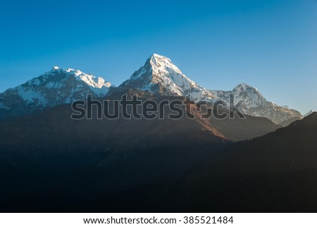 Amazing panoramic view of the Himal mountains at sunset - stock photo