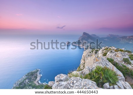 amazing panoramic view over the rocky coast at Majorca at sunset, Cap Formentor