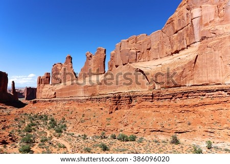 amazing park avenue trail at arches national park USA - stock photo
