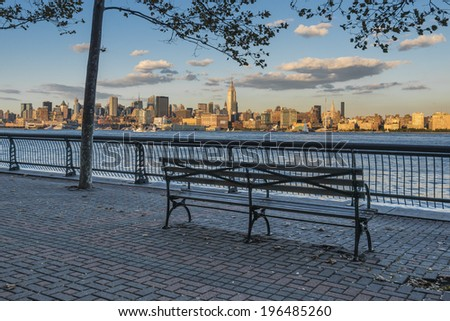 Amazing Park in New Jersey with Landscape view on New York Citys - stock photo