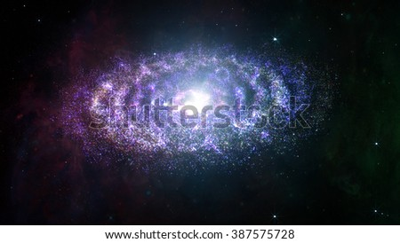 Amazing Planetary Spiral Nebula Galaxy 3D Illustration - stock photo