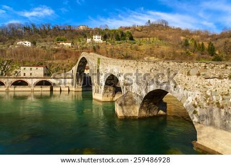 amazing ponte del diavolo view in tuscany - stock photo