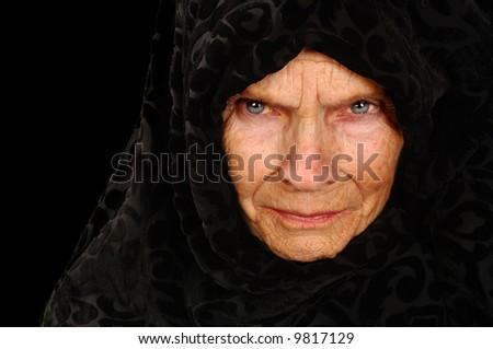 Amazing Portrait of a Elderly Russian Peasant Woman - stock photo