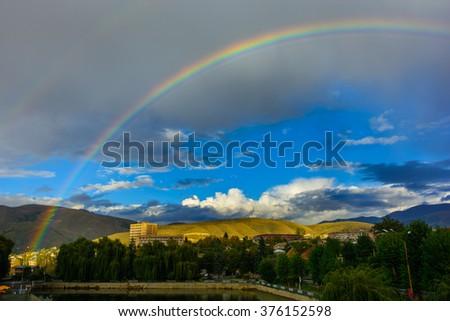 Amazing rainbow, Armenia - stock photo