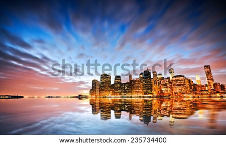 Amazing reflection of New York skyline. - stock photo