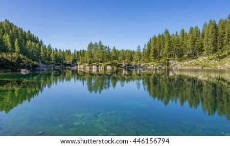Amazing reflections at Triglav Lakes in Julian Alps - stock photo