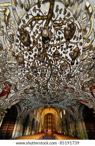 Amazing relief ceiling in the church  in Oaxaca city - Mexico