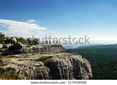 Amazing rock formations - famous Table Mountains National Park (Gory Stolowe) in Poland - stock photo