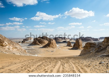 Amazing rock formations in the Western White desert of Egypt. - stock photo