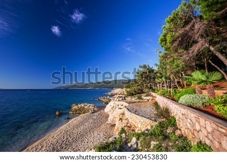 Amazing rocky beach with cristalic clean sea water with pine trees n the coast of Adriatic Sea, Istria, Croatia - stock photo