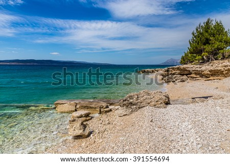 Amazing Rocky Coastline Of Makarska Riviera During Clear Summer Day - Makarska, Dalmatia, Croatia - stock photo