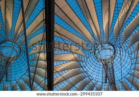 Amazing roof at Sony Center in Berlin, Germany.