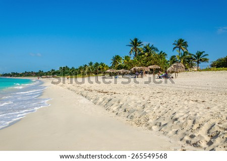 Amazing sandy beach with palm trees, azure Caribbean Sea and blue sky, Caribbean Islands, Central America - stock photo