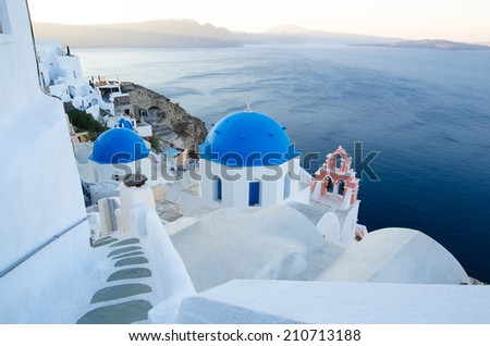 amazing Santorini - travel in Greek islands - stock photo