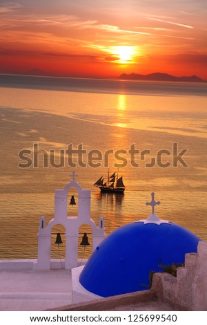 Amazing Santorini with church and sea view in Greece - stock photo