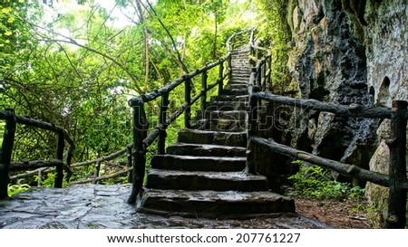 Amazing scene at Mekong Delta rocky mountain, old stone staircase with rock fence, tree with large tree trunk, abstract roof and big stump, the way up to paradise, green landscape for Vietnam travel