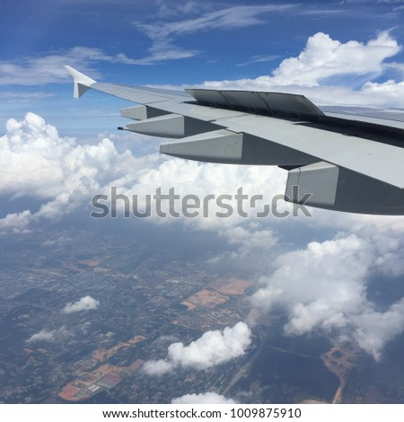 Amazing Scenery Out From Airplane Window While Travelling
