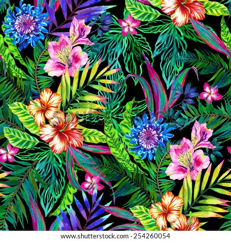 amazing seamless tropical pattern. lots of exotic leaves and flowers in large dramatic composition. with palm leaves, hibiscus, and other popular plants.  - stock photo