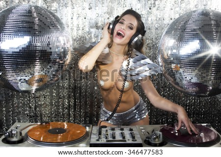 amazing sexy cool female club character DJ in a nightclub setting