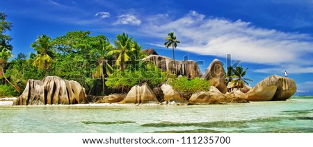 amazing Seychelles islands - La digue, famous granite rocky beach D'argent - stock photo