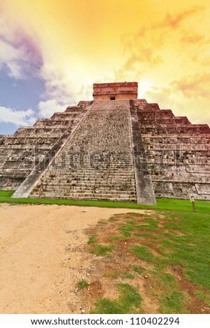Amazing sky over Kukulkan pyramid in Chichen Itza, Mexico - stock photo