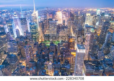 Amazing skyline of Manhattan. New York aerial view. - stock photo