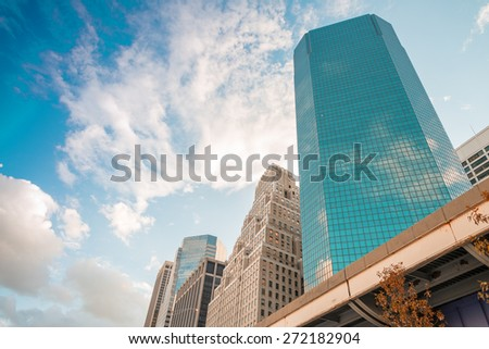 Amazing skyline of Manhattan - New York Skyscrapers. - stock photo
