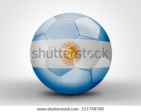 Amazing soccer ball with the flag of Argentina ( South America ) isolated on white