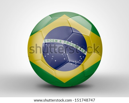 Amazing soccer ball with the flag of Brazil ( South America ) isolated on white