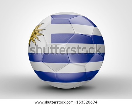 Amazing soccer ball with the flag of Uruguay ( South America ) isolated on white