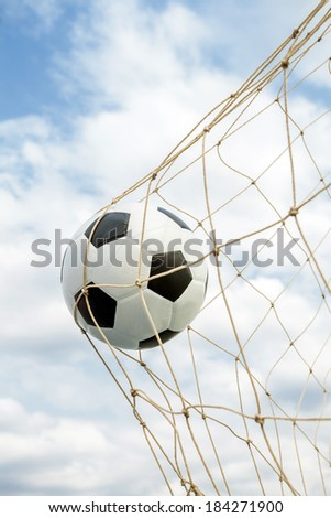 Amazing Soccer football Goal net. - stock photo