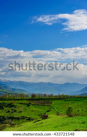 Amazing spring landscape with snowy mountains, Tavush, Armenia - stock photo