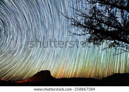 Amazing star trail image seen from Isalo, Madagascar - stock photo