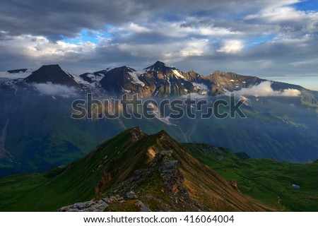 Amazing sunrice on the top of grossglockner pass, Alps, Switzerland, Europe. - stock photo