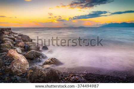 Amazing sunrise and silky water on Kos island, Greece