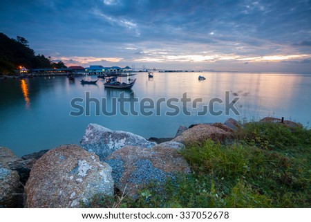 Amazing Sunrise and Sunset in George Town, Penang Malaysia - stock photo