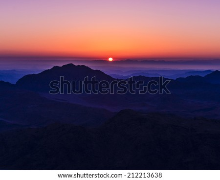 Amazing Sunrise at Moses (Sinai) Mountain - stock photo