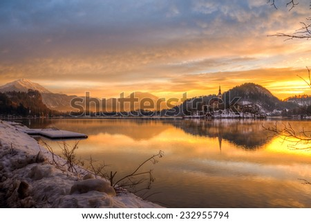 Amazing sunrise at the lake Bled in winter, Slovenia, Europe - stock photo