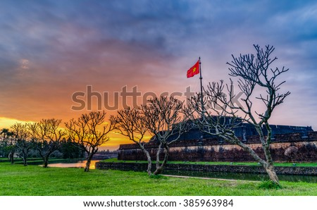 Amazing sunrise in Hue Flagstaff with lotus lake in Hue City, Most Famous City for travel in Vietnam, Vietnam Unesco World Heritage Site
