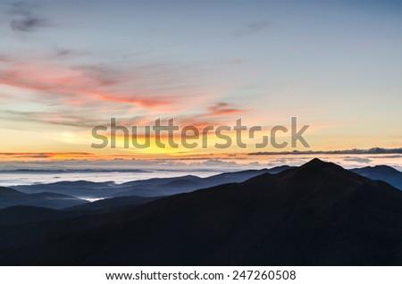 Amazing sunrise in the mountains - stock photo
