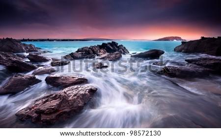 Amazing Sunrise Over Australian Beach - stock photo
