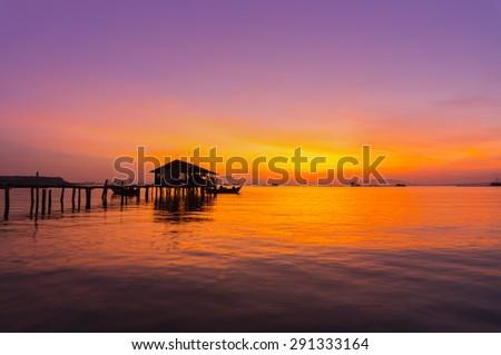 amazing sunrise with colorful reflection - stock photo
