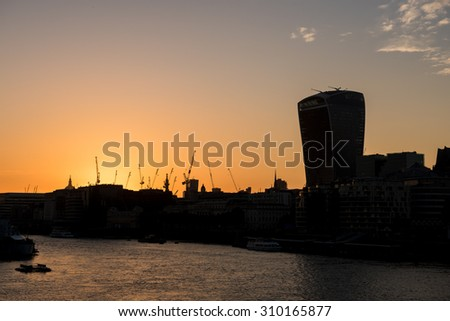 Amazing sunset and industrial shapes of London